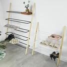 ins北歐進門鞋架多層簡易門口省空間創意鐵藝實木靠墻梯形置物架 橙子精品