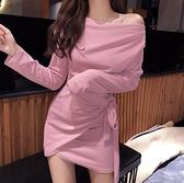 夜店女裝夜場女裝性感2020新款顯瘦氣質女神范衣服一字肩露肩女人味洋裝