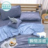涼感 -5度C/雙人四件式保潔墊 枕巾2入 涼被/瞬涼可洗抗菌 SUPERCOOL接觸涼感[鴻宇]