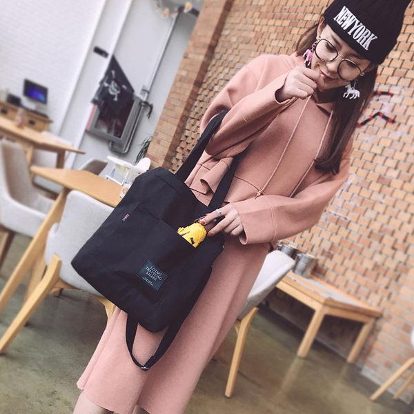 帆布包斜背包時尚加厚帆布包女側背斜背包大容量學生 愛麗絲