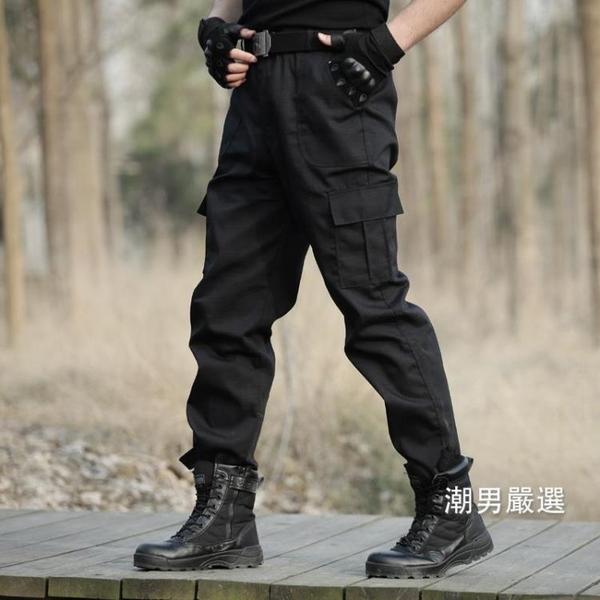 工裝褲夏季寬鬆多口袋黑色作訓褲男軍褲工裝褲戰術工作褲子特種兵迷彩褲S-4XL黑色