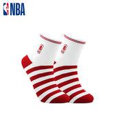NBA 平版襪 MIT 運動配件 LogoMan條紋刺繡短襪 (白/紅)