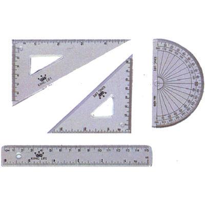 Life 徠福 高級透明三角板/直尺/量角器尺組 NO.KS-115