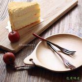 包有味道日式紅黑柄水果叉蛋糕叉天然原木餐具叉子 甜點叉S 9