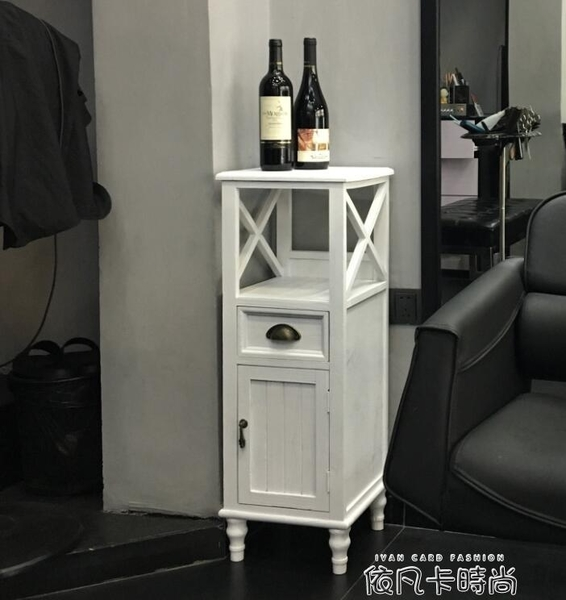 衛生間窄櫃夾縫小櫃子美式復古馬桶收納櫃縫隙櫃角櫃實木浴室邊櫃QM 依凡卡時尚