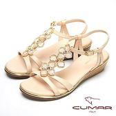 ★2018春夏新品★【CUMAR】閃亮水鑽-寶石花朵造型真皮坡跟涼鞋(裸)