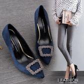 春季尖頭細跟女鞋單鞋水鉆方扣高跟鞋紅色鞋黑色工作鞋-Ifashion