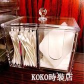 壓克力化妝棉化妝品收納盒棉簽小盒子透明梳妝臺桌面棉片棉簽盒 koko時裝店