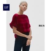 Gap女裝 天鵝絨圓領短袖荷葉邊休閒上衣 400813-酒紅色
