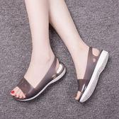 夏季水晶果凍鞋軟底休閒魚嘴塑料膠涼鞋沙灘鞋女防滑雨鞋涼鞋  檸檬衣舍