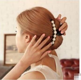 預購-氣質日韓白色珍珠水鑽頭飾發卡髮夾子大號發抓夾