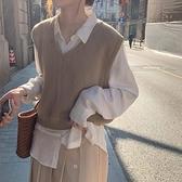 馬甲背心外穿女秋款寬鬆短款無袖針織日系毛衣外套 樂淘淘