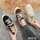 毛毛鞋 豆豆鞋女冬季新款時尚平底圓頭保暖棉鞋系帶百搭舒適單鞋潮 韓菲兒