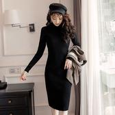 黑色毛織顯瘦長袖連身裙[98963-QF(裙)]美之札