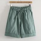 棉麻短褲 春夏上新寬鬆短褲女學生抽繩繫帶五分褲小個子薄款透氣棉麻褲-Ballet朵朵