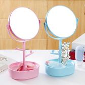 雙面旋轉化妝鏡 鏡子 公主鏡 吊飾 飾品 收納盒 梳妝鏡 補妝鏡 圓形 台式鏡子✭慢思行✭【Z042】