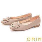 ORIN 氣質C型環真皮 女 平底鞋 可可