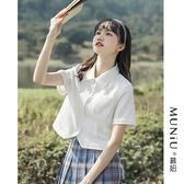 緞面襯衫 學院風jk襯衫女2021夏季新款設計感小眾白色短袖襯衣日系雪紡上衣 設計師