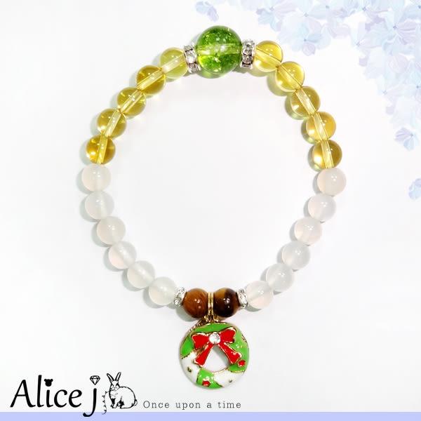 聖誕限定 銀白耶誕花圈 招財系 能量水晶手鍊