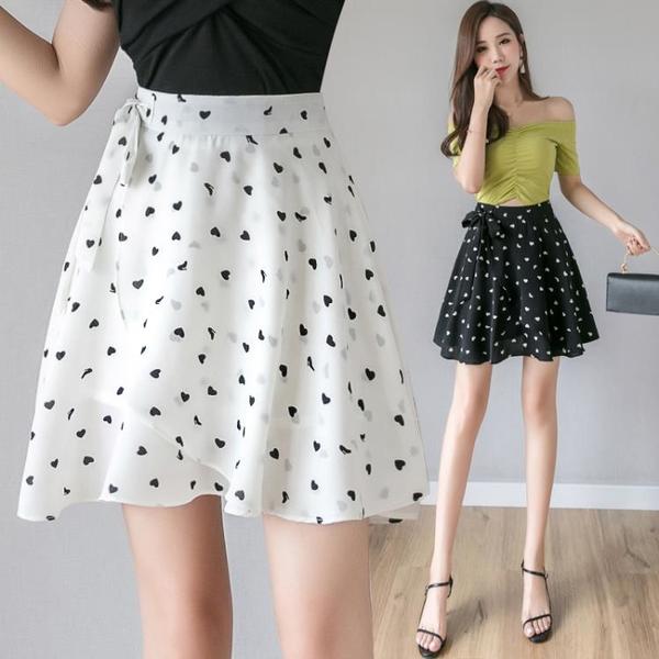 雪紡半身裙小清新2021新款夏碎花波點不規則系帶短裙ins超火裙子 果果輕時尚