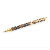 BURBERRY經典格紋金飾邊限量自動鉛筆(咖啡色)086054