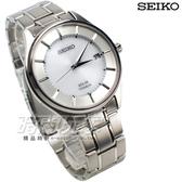 SEIKO 精工錶 鈦金屬 簡單白面 三針 日期太陽能 男錶 39mm SBPX101J V157-0BX0S 公司貨