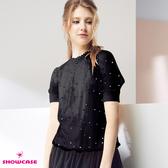 【SHOWCASE】甜美蕾絲小立領繡金點點雙層透膚短袖上衣(黑)