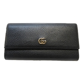 GUCCI 古馳 黑色牛皮長夾 GG Marmont Continental Wallet 456116【BRAND OFF】