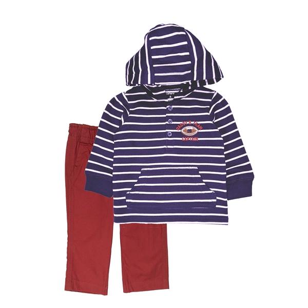 男寶寶套裝二件組 長袖薄連帽上衣+長褲 深藍橫條 | Carter s卡特童裝 (嬰幼兒/小孩/baby)