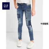 Gap女童 摩登破洞做舊緊身窄腿牛仔褲 229585-中度靛藍