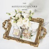 金色長方形托盤果盤茶盤糕點托盤盤子蛋糕架『米菲良品』