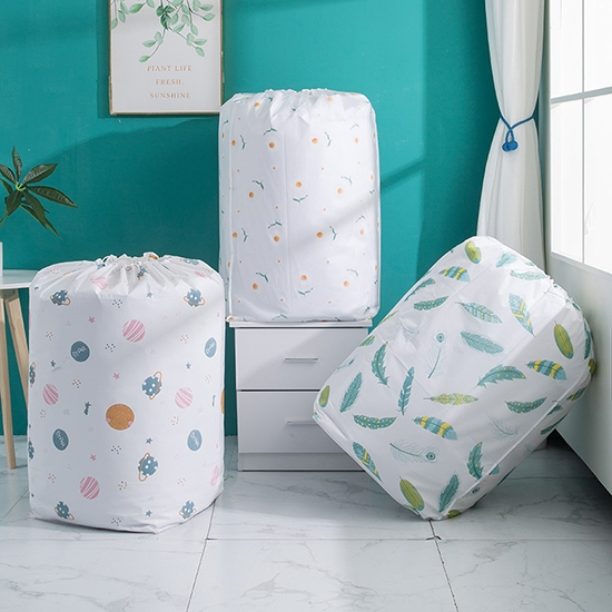 棉被袋 收納袋 束口袋 大 束繩袋 整理 搬家袋 收納 換季收納 PEVA圓筒束口收納袋【N182】慢思行