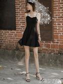小禮服小黑裙夏2019新款女裝氣質v領收腰a字短款禮服黑色吊帶連身裙 伊蒂斯女裝