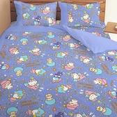 【享夢城堡】三麗鷗 55週年太空風系列-雙人四件式床包涼被組(粉)(藍紫)