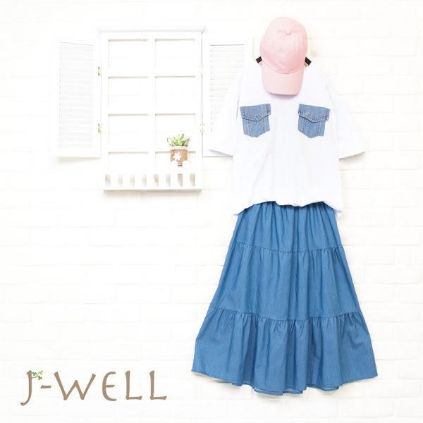J-WELL 牛仔貼口袋棉T牛仔蛋糕裙 (組合A55 8J1465白F+8J1522中藍F)