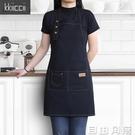 圍裙棉麻奶茶咖啡店烘焙美甲定制印字時尚男女工作服亞麻工作圍裙  自由角落