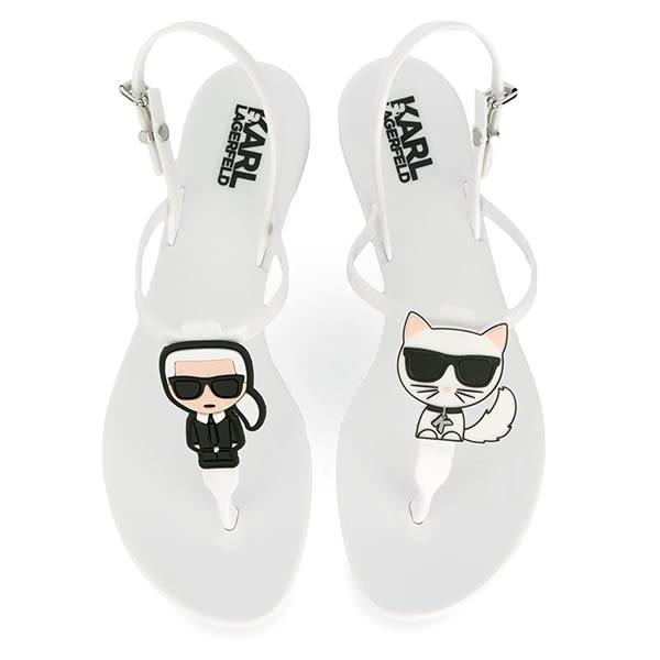 Karl Lagerfeld 卡爾 老佛爺 鞋 JELLY Q版夾腳涼鞋-白