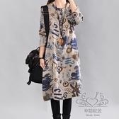 洋裝新品文藝復古大尺碼圓領印花棉麻長袖連身裙寬鬆民族風打底裙女