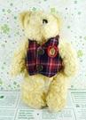 【震撼精品百貨】日本日式精品_熊_Bear~絨毛玩偶-格子背心