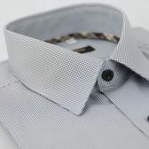 【金‧安德森】經典格紋繞領細黑格黑釦吸排長袖襯衫