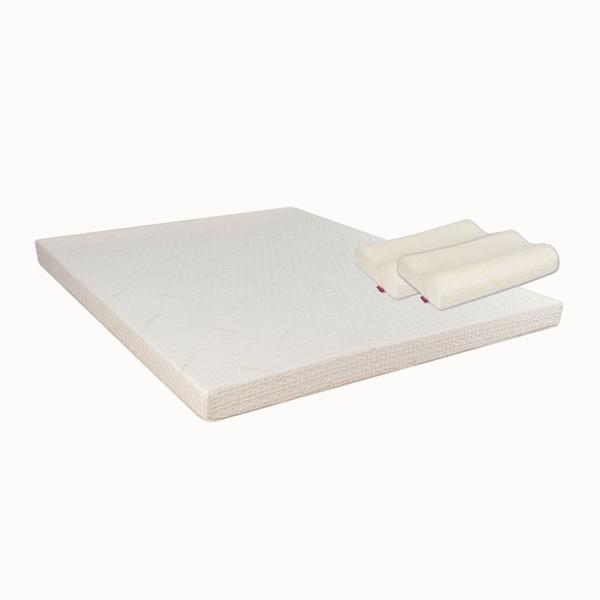 IMAGER-37 易眠床天絲系列三折式薄墊(152x186x4.5cm)+易眠枕WM型一對(再送保潔墊一張)
