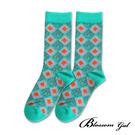 Blossom Gal 菱格撞圖騰配色造型短襪(共4色)