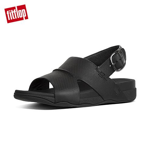 精選5折【FitFlop】BANDO BACK STRAP SANDALS IN PERFORATED LEATHER柔軟皮革後帶涼鞋-男(黑色)