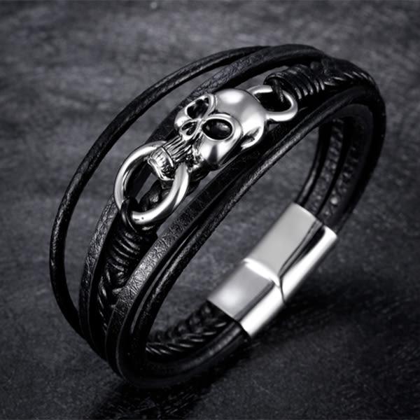 《 QBOX 》FASHION 飾品【L100N1244】精緻個性骷顱頭環扣多層次鈦鋼皮革手鍊/手環