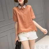 棉麻短袖襯衫女夏季新款韓版寬鬆娃娃領襯衣大碼純色上衣女潮 至簡元素