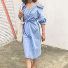 不對稱 襯衫 洋裝 連衣裙 連身裙 拼接 條紋 直條 露肩 斜肩 一字領 扭結 綁腰 性感 顯瘦 上班族 NXS