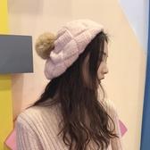 針織毛線帽子女日系秋冬貝雷帽百搭畫家帽【聚寶屋】