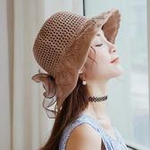 韓版綢緞大蝴蝶結棉麻遮陽盆帽子女夏沙灘大檐漁夫帽可折疊太陽帽   LannaS