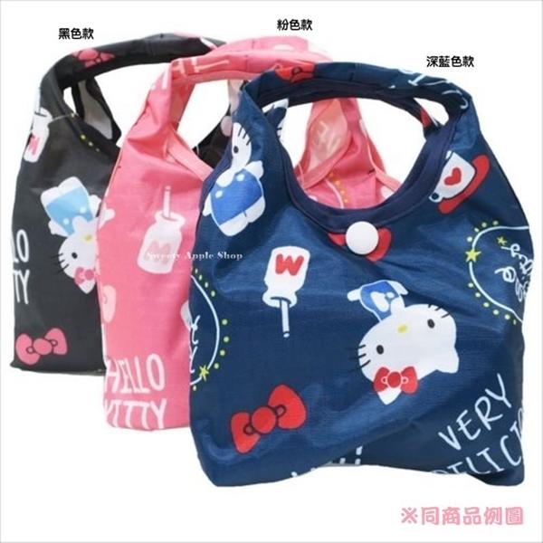 日本限定 HELLO KITTY  英字可愛 滿版繪圖 摺疊收納式 購物袋 / 環保袋(黑色)