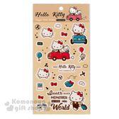 〔小禮堂〕Hello Kitty 造型貼紙《米黃.開車.行李箱》裝飾用 4714581-30688